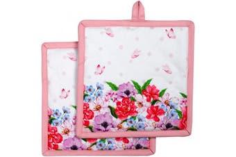 (Spring Floral) - Amour Infini Pot Holders | Unique Spring Floral Design | Set of 2|20cm x 20cm | 100% Natural Cotton | Durable Heat Resistant for Kitchen and Machine Washable | Eco - Friendly & Safe
