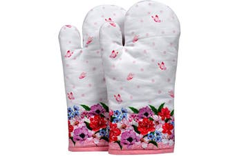(Oven Mitt, Spring Floral) - Amour Infini Oven Mitts | Unique Spring Floral Design | Set of 2 | 18cm x 33cm |100% Natural Cotton | Durable Heat Resistant for Kitchen and Machine Washable | Eco - Friendly & Safe