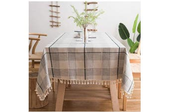 (Round, 150cm , Gray/White) - ColorBird Round Tablecloth Embroidery Chequered Tassel Cotton Linen Fabric Dust-Proof Table Cover for Kitchen Dinning Tabletop Decoration (Round, 150cm , Grey/White)