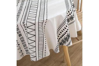 (Round, 150cm , Black and White) - ColorBird Bohemian Style Geometric Tablecloth Cotton Linen Fabric Decorative Table Cover for Kitchen Dining Farmhouse Picnic Indoor Outdoor Use (Round, 150cm , Black and White)