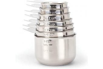 2lbDepot Measuring Cups, Premium 18/8 Stainless Steel Metal, Stackable & Nesting, Accurate Dual Spout Measuring Cup Design for Dry & Liquid Ingredients, 7 Piece Set