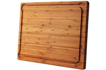 Bamboo Cutting Board for Kitchen, Large Cheese Board with Wide Juice Grooves, Reversible and Durable