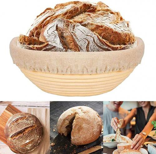 awtlife 9 inch Bread Banneton Proofing Basket with 5 PCS Artisan Bread Stencils Round Rising Dough Baking Bowl Gifts for Artisan Bread Making Starter