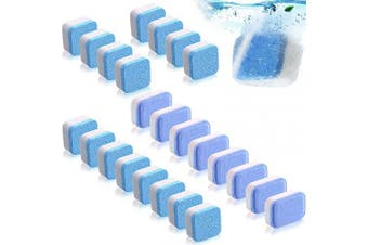 24 Pieces Solid Washing Machine Cleaner Effervescent Tablet Washer Cleaner Deep Cleaning Remover with Triple Decontamination for Bath Room Kitchen, Blue and Purple