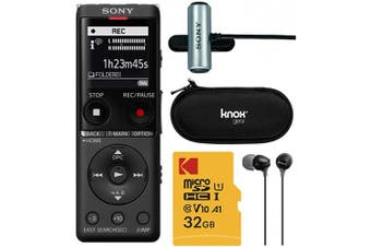 (Complete Pro Bundle) - Sony ICDUX570BLK Slim Design Digital Voice Recorder (Black) Complete Professional Bundle - 32GB Micro SD, Sony ECMCS3 Mic, Sony EX15 Earbuds, and Knox Gear Hardcase (5 Items)