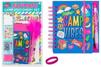 3C4G Kids Summer Camp Gift Set Kit - Journal, Stationary Set (with Notepaper, Postcards, Stickers) and Wristband Accessory
