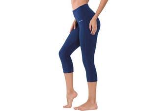 (Navy Blue, S) - Ogeenier Women's Tummy Control Workout Leggings Running Pants,High Waist Hidden Pocket Yoga Pants Capri Leggings