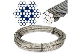 Boat parts Brauer, 5 metres stainless steel, wire rope, 7 x 7 medium soft D = 1 mm, stainless steel, A4 steel rope, steel rope