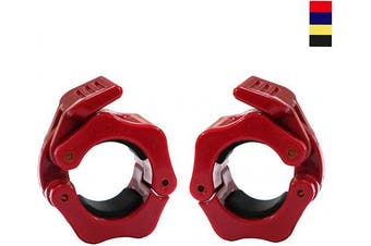 (Red) - AbraFit 2.5cm Barbell Clamps - Solid ABS Locking Barbell Collars with Quick Release - 2.5cm Diameter Standard Bar Weight Plates Collar Clips for Workout Weightlifting Fitness Training Bodybuilding