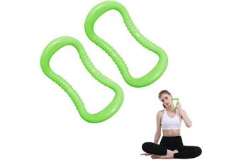 (Green) - MIZATTO Pilates Training Magic Yoga Ring for Women Circles for Back Leg Chest Arms Workouts Gym Exercise for Stretches and Strengthen Set of 2