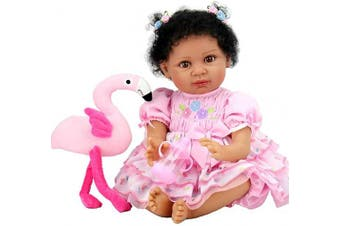 (Black Flamingo) - Aori Lifelike Reborn Baby Dolls with Soft Body African American Realistic Girl Doll 60cm Flamingo Gift Set for Girl Ages 3+