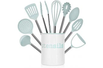 (Mint) - Country Kitchen 10 Piece Nylon Cooking Utensil Set with Holder, Kitchen Tools and Gadgets with Rounded Gunmetal Handles - Mint