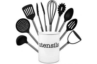 (Black) - Country Kitchen 10 Piece Nylon Cooking Utensil Set with Holder, Kitchen Tools and Gadgets with Rounded Gunmetal Handles - Black