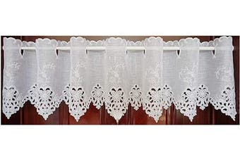 (150cm W X 70cm L 1 Panel, Style#11) - Abreeze Bamboo Yarn Pastoral Style Valance Floral Embroidery Sheer Lace Cafe Curtain Patterns of Flowers,150cm W X 70cm L