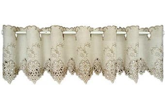(150cm W X 46cm L 1 Panel, Style#6) - ABREEZE Graceful Short Curtains Embroidery Door Windows Curtains Rod Pocket Cafe Curtains with Hollow Lace, 150cm W X18 L