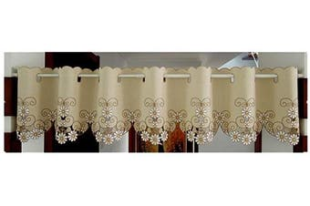 (150cm W X 30cm L 1 Panel, Style#3) - Abreeze Kitchen Tiers Curtains Half Windows Curtains Fashion Cafe Curtains Embroidered Daisy Short Curtains Valances 150cm W X12 L