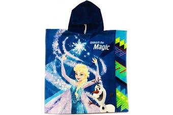 (Unleash the Magic) - DIISNEY Girls Princess Elsa and Olfa Unleash The Magic, Back 'Up for Adventure.' Velour Blue Hooded Towel