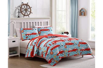 (Full/Queen, Fire Truck Lane) - Kute Kids Children's Quilt Set - Multiple Styles for Boy's and Girl's Beds with Fun Designs and Colours to Match with Sheet Sets (Fire Truck Lane, Full/Queen)