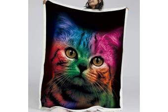 (Twin, 150cm  x 200cm , 7) - BlessLiving Cat Fleece Throw Blanket Bedding Sherpa Flannel Fleece Reversible Blankets Ultra Luxurious Plush Blanket (Twin, 150cm x 200cm )