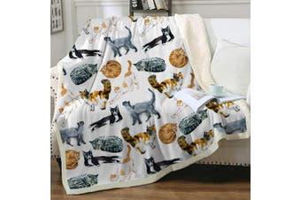 (Throw(130cm  x 150cm ), 1) - Sleepwish Cat Fleece Throw Blanket Hipster Cats Pattern Sherpa Plush Throw Blanket for Couch Bed Kids Girls Vintage Animal Blanket (130cm x 150cm )