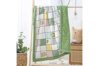 (#D) - Satbuy Green Animal Chequered Cotton Thin Quilt, Air-Conditioned Room Blanket, Sofa Blanket, Baby Blanket, Summer Thin Quilt for Boys Girls