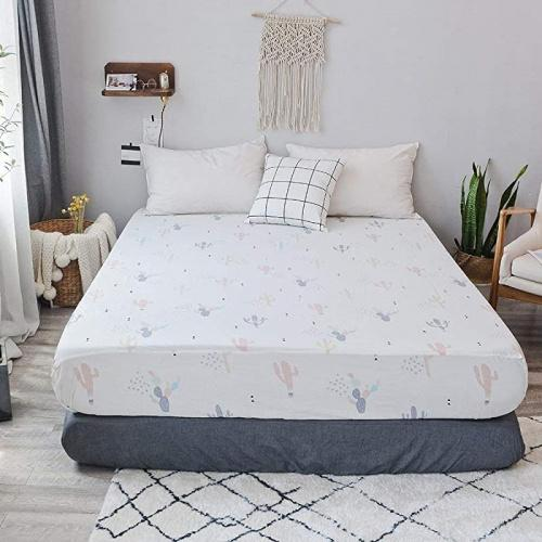 PinkMemory Twin Fitted Sheet for Thick Mattress 100/% Cotton White Cactus Print Fitted Sheet with 18 Deep Pocket Without Pillowcases Durable Soft