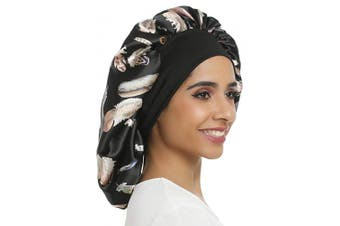 (Double layer-black leaf) - Large Satin Bonnet Double Layer Sleep cap Sliky bonnet Wide Elastic Band for Women Haircare,Curly Natural Long Hair (Double layer-black leaf)