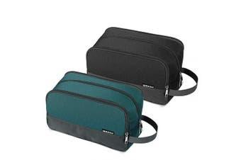 (Z- Malachite Green+Black) - WANDF Toiletry Bag Small Nylon Dopp Kit Lightweight Shaving Bag for Kids Men and Women (Malachite Green+Black)