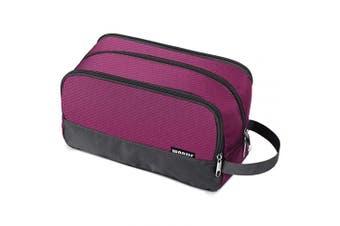 (A-Rose Red) - Toiletry Bag Small Nylon Dopp Kit Lightweight Shaving Bag for Men and Women (Rose Red)