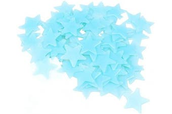 (Blue) - Amaonm 100 Pcs Blue Glow in The Dark Luminous Stars Fluorescent Noctilucent Plastic Wall Stickers Murals Decals for Home Art Decor Ceiling Wall Decorate Kids Babys Bedroom Room Decorations