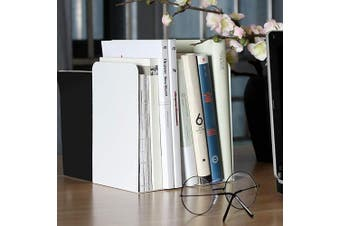 (White) - Abuff 2 Pcs Modern Bookends White, Decorative Metal Nonskid Book Ends Supports for Books, Movies, DVDs, Magazines, Video Games, Standard, 8.0 x 9.8cm x 13cm