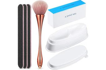 6 Pieces Dip Powder Tray Nail Files and Buffer Set, Include French Nail Dipping Powder Container Tray, Nail Duster Brush, 4-Sided Nail File and Buffer and Emery Boards for DIY Nail Decoration