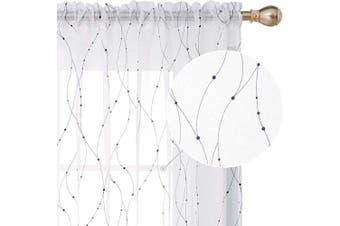 (52Wx108L, Black) - Deconovo White Sheer Curtains with Dots Pattern Curtain Panels Elegance Sheer White Curtains for Living Room 52W x 108L Black 2 Panels