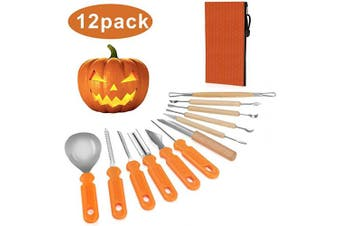 Blisstime Halloween Pumpkin Carving Kit Tools 12 PCS Heavy Duty Stainless Steel Pumpkin Carving Set Includes Wooden Double Sided Sculpting Knife for Jack-O-Lantern and More Halloween Decorations