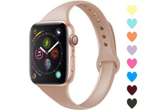 (42mm/44mm, C,Milk Tea) - Acrbiutu Bands Compatible with Apple Watch 38mm 40mm 42mm 44mm, Slim Thin Narrow Replacement Silicone Sport Accessory Strap Wristband for iWatch Series 1/2/3/4/5 Women Men