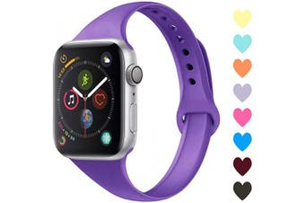 (38mm/40mm, C,Purple) - Acrbiutu Bands Compatible with Apple Watch 38mm 40mm 42mm 44mm, Slim Thin Narrow Replacement Silicone Sport Accessory Strap Wristband for iWatch Series 1/2/3/4/5 Women Men
