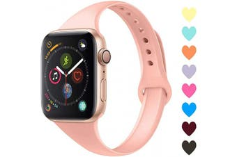 (38mm/40mm, C,Grapefruit) - Acrbiutu Bands Compatible with Apple Watch 38mm 40mm 42mm 44mm, Slim Thin Narrow Replacement Silicone Sport Accessory Strap Wristband for iWatch Series 1/2/3/4/5 Women Men