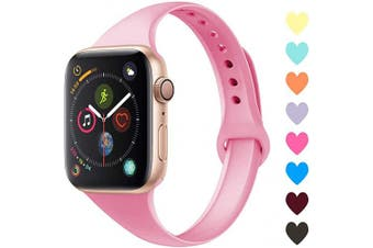 (42mm/44mm, C,Pink) - Acrbiutu Bands Compatible with Apple Watch 38mm 40mm 42mm 44mm, Slim Thin Narrow Replacement Silicone Sport Accessory Strap Wristband for iWatch Series 1/2/3/4/5 Women Men