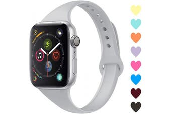(42mm/44mm, C,Gray) - Acrbiutu Bands Compatible with Apple Watch 38mm 40mm 42mm 44mm, Slim Thin Narrow Replacement Silicone Sport Accessory Strap Wristband for iWatch Series 1/2/3/4/5 Women Men