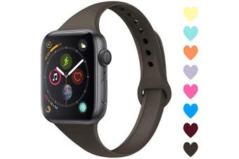 (42mm/44mm, C,Cocoa) - Acrbiutu Bands Compatible with Apple Watch 38mm 40mm 42mm 44mm, Slim Thin Narrow Replacement Silicone Sport Accessory Strap Wristband for iWatch Series 1/2/3/4/5 Women Men
