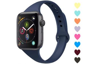 (42mm/44mm, C,Navy) - Acrbiutu Bands Compatible with Apple Watch 38mm 40mm 42mm 44mm, Slim Thin Narrow Replacement Silicone Sport Accessory Strap Wristband for iWatch Series 1/2/3/4/5 Women Men