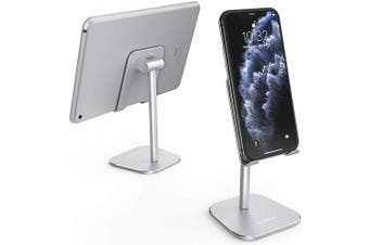 (Silver) - ATUMTEK Universal Cell Phone Stand, Solid Aluminium Alloy Adjustable Desktop Stand Holder for iPhone 11/11 Pro/XS Max/XR/XS/X/8/7 Plus, iPad, Samsung, Switch, All Tablets and Smartphones - Silver