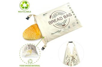 (Khaki) - OHYGGE Bread Bags for Homemade Bread, Organic Cotton Reusable Bread Bag with Fresh-keeping Linen, Large Baggette Boule Bag for Bakery Supplies and Food Storage, Khaki