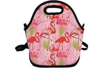 (Red Flamingo) - Portable Insulated Lunch Bags for Women Men Kids Girls, Red Flamingo Soft Neoprene Lunch Tote Bag, Lightweight Reusable Lunch Box for Work/Office/School/Outdoor/Travel/Picnic and Mom bag