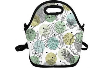 (Plant Leaves) - Portable Insulated Lunch Bags for Women Men Kids Girls, Plant Leaves Soft Neoprene Lunch Tote Bag, Lightweight Reusable Lunch Box for Work/Office/School/Outdoor/Travel/Picnic and Mom bag