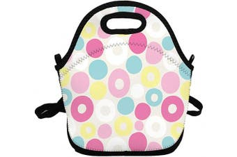 (Pink Blue Yellow) - Portable Insulated Lunch Bags for Women Men Kids Girls, Pink Blue Yellow Soft Neoprene Lunch Tote Bag, Lightweight Reusable Lunch Box for Work/Office/School/Outdoor/Travel/Picnic and Mom bag