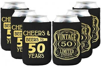 Neoprene Beer Can Coozies- 50 Years Birthday Can cooler, 50th Birthday Gifts Coozies, Birthday Party Decorations - Set of 6
