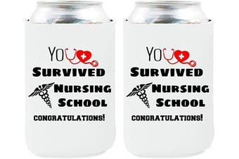 Neoprene Beer Can Coozies- Nurse Can cooler, Nurse Gifts Coozies, Nurse Graduation Party Decorations, Nurse Appreciation Gifts - Set of 2(RN)