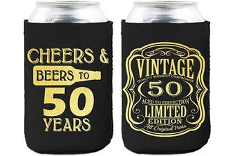 Neoprene Beer Can Coozies- 50 Years Birthday Can cooler, 50th Birthday Gifts Coozies, Birthday Party Decorations - Set of 2