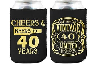 Neoprene Beer Can Coozies- 40 Years Birthday Can cooler, 40th Birthday Gifts Coozies, Birthday Party Decorations - Set of 2